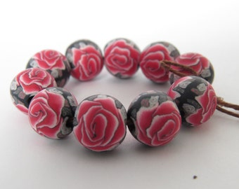 Beads, Rose beads, Red rose beads, beads, 10 mm round beads, rose beads, Handmade beads,  Beads, DIY Crafts, Jewelry Supply, 10 pieces.
