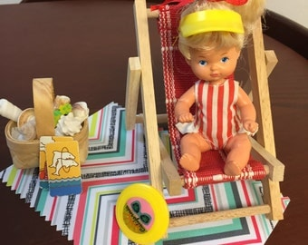 Barbie Doll House BABY's BEACH Day VIGNETTE Room Furniture & Accessories Nursery Chair Toys Kids