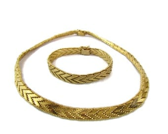 Napier Jewelry Chevron Necklace Gold Napier Necklace Napier Bracelet Vintage Napier Jewelry Set