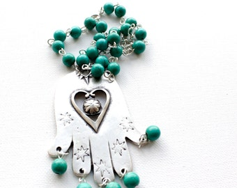 Hamsa Hand Necklace Turquoise Statement Silver Tribal Necklace Large Hamsa Necklace Short Statement Pendant Necklace