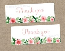 Thank You Favor Favour Bag Toppers, Pink Roses, Baptism, Christening, Birthday Party, Wedding Cake, Printable Instant download