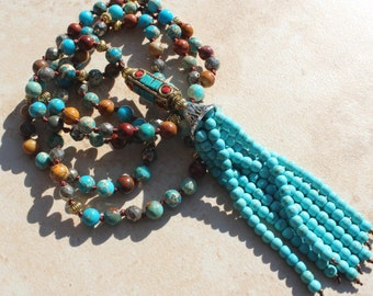 Boho Glam, Tassel Necklace, Hand Knotted Stone Necklace, Boho Necklace by Inarajewels, Long Hand Tied Necklace Bohiemian Style Long Necklace