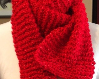 Red Gold Christmas scarf, winter scarf, soft warm scarf, knit scarf for adults and teens, Christmas clothing, Holiday accessory, red Holiday