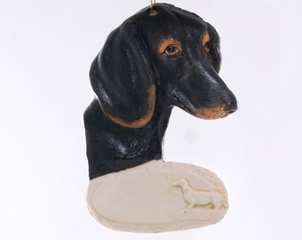 Dachshund Dog Christmas Ornament - Wiener Dog - Black and Tan Dachshund Personalized Ornament - hand made from resin in the USA (199)