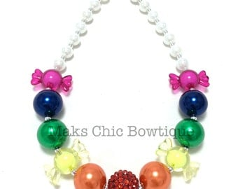 Children's Candy chunky necklace, Red, Orange, Yellow, Green, Blue, Fuchsia chunky necklace, Sweet treats necklace, Rainbow candy necklace