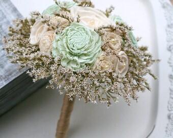 Rustic Mint Bridesmaids Bouquet // Wedding Bouquet, Handmade Bridal Bouquet, Mint Green, Sola Wood, Dried Flowers, Burlap Flower Bouquet