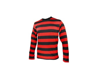 Men's Long Sleeve Black & Red Striped Shirt