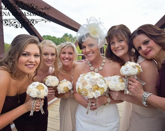Bridesmaids Brooch bouquet, ivory gold brooch bouquets.
