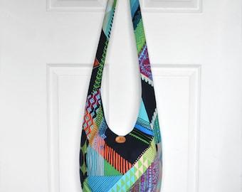 Hobo Bag Hippie Purse Crossbody Bag Sling Bag Hippie Bag Boho Bag Bohemian Purse Geometric Handmade Purse Hobo Purse Slouch Bag Hippie Bag