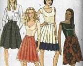 PATTERN Butterick 5285 Set of skirts knee length gathered stitched pleats contrast hem fixed waist Size 6-8-10-12 (uncut)