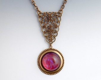 Fuchsia Glass Necklace, Filigree Jewelry, Glass Filigree Necklace, Brass Nickel Free Pendant, Pink Necklace, Pink Glass Jewelry, Elisa