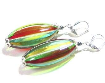 Venetian Blown Glass Colorful Stripes Long Oval Silver Earrings, Murano Jewelry, Italian Jewellery, Leverback Earrings, Dangle Clip Ons