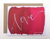 Love card watercolor hand lettering red wedding anniversary