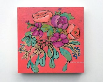 Original bright flower painting fun colorful floral wall art