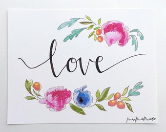 CLEARANCE Love watercolor floral art print painted hand lettering
