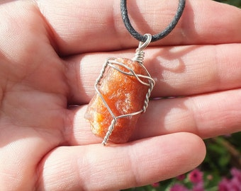 Sunstone Crystal Pendant, 925 Silver Wire Wrapped Jewelry, Jewellery Necklace 5.7g/38mm CLEANSING ~ ABUNDANCE ~ SEXUALITY(ss-4)