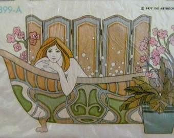Beautiful NOS Vintage Art Nouveau Decal Set Decoupage Craft Kit by Meyercord 1977 in Original Packaging