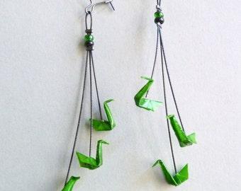 Green Triple Swan Origami Earrings