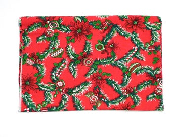 Christmas Fabric / Cloth Panel / Textile Vintage Poinsettia Christmas Tree Ornaments Candy Canes Holly Tablecloth Cover 1950s Holiday Cloth