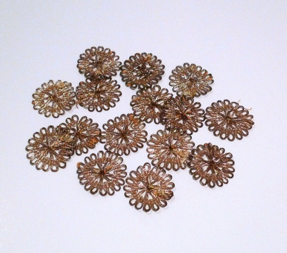 Indian Metallic Patch Embellishments Vintage India Gold Cord Medallion Set 1970s Handmade Sew On Applique floral sunburst Tribal Boho Hippie