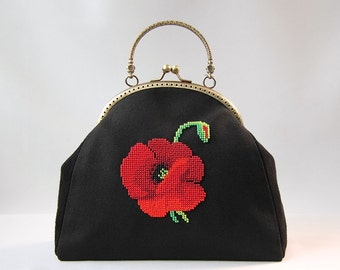 SALE leather bag, flower bag, poppies bag, bag for women, classical bag, black bag
