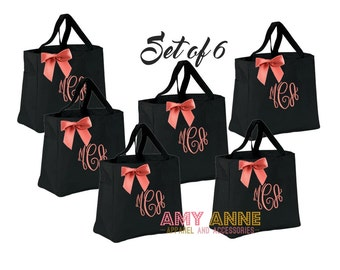 Set of 6 Bridesmaids Tote Bags Monogrammed Personalized Monogram Custom Gift Ideas ~ Sorority ~ Wedding Party ~ Teachers