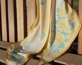 vintage sunny yellow friendship rose Vera scarf - 70s/80s