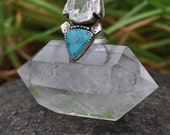 Close Encounters / Quartz Arrowhead & Sleeping Beauty Turquoise Ring / size 8.5