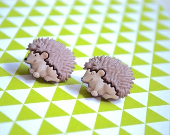 Porcupine Earrings -- Porcupine Studs, Gray Porcupine Earrings, Animal Lover