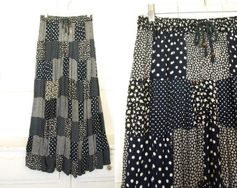 Vintage 90s rayon patchwork floral maxi skirt size small or medium