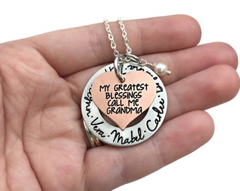 My Greatest Blessings Call Me Grandma Grammy Mimi Nana Kids Grandkids Copper Necklace - Hand Stamped Jewelry - Personalized Engraved Jewelry