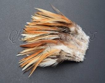 SALE Rooster feathers Natural ginger saddle feathers, real feathers earthy brown ivory mixed for millinery, crafts 4-6 in long / F180-4