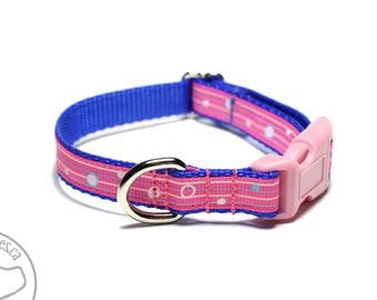 "Delicate Pink and Blue Striped Dog Collar - 1/2"" (13mm) Wide - your choice of style and size - Pink Dog Collar - Thin Collar"