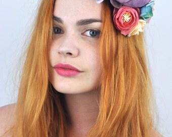 Bohemian Roses Flower Hair Clip Headpiece