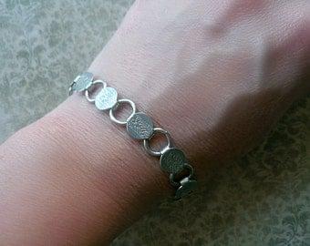 30% OFF Vintage Victorian Style Bracelet - Silver Engraved Floral Bohemian Bracelet - Vintage Designer Jewelry Bracelet - Sarah Coventry