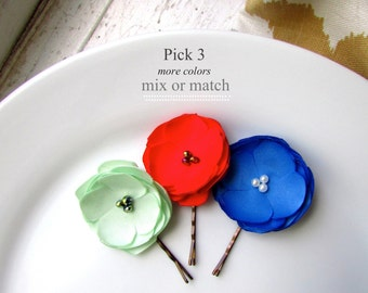 PICK 3 Small Silk Fabric Flower Hair Clips for Girls Christmas Hair Accessory, Mint Green and Red Hair Flowers, Children, Pearls, Crystal