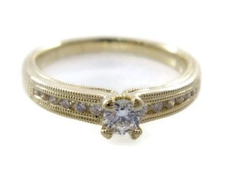 Elegant engagement Ring. Yellow gold diamonds ring. Gold engagement ring. Diamond ring. Classic diamond ring. Delicate ring (R-R16342-54160)