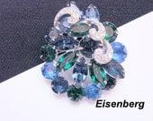 Eisenberg Rhinestone Floral Brooch / Designer Signed / Blue / Green / Navettes / Vintage Jewelry / Jewellery