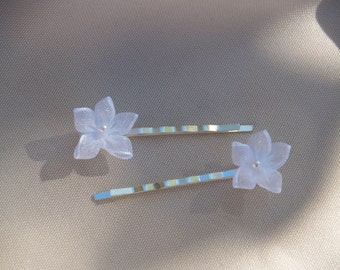 Two Tiny Flower hair pin - handmade hair Organza tiny flower, wedding, first communion, confirmation, flower girl, hair pin, small flower