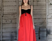 VINTAGE 1960s Victor Costa Evening Gown DRESS black velvet red satin Empire waist XS/Small