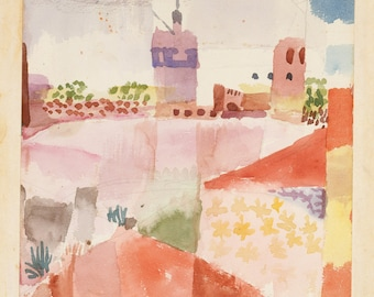 20th Century Expressionism:  Paul Klee Print Reproduction - Hammamet with its Mosque (Tunis), 1914.  Fine Art Reproduction.
