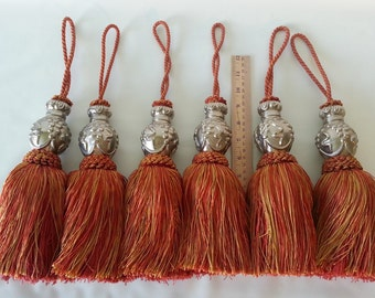 SALE!!!  Extra-Large Burnt Red and Gold Tassles - Set of Six