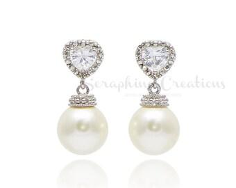Wedding Pearl Earrings, Swarovski Pearls Heart Shaped Cubic Zirconia Wedding Earrings Wedding Jewelry Bridal Earrings Bridesmaid Gifts K151