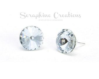Bridesmaid Crystal Earrings Bridal Earrings White Swarovski Rivoli Crystals Sparkly Clear Wedding Jewelry Bridesmaid Gifts Leverback K010