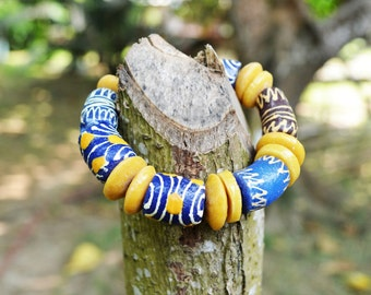 African trade bead bracelet, African beaded bracelet, African men trade bead bracelet, Tribal African  beaded bracelet , Ethnic jewelry