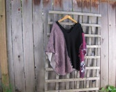 Artsy Upcycled Bohemian Hippie Poncho Cape/Black Maroon Tan Eco Shawl Tattered Pixie Mori Lagenlook Cover Up One Size