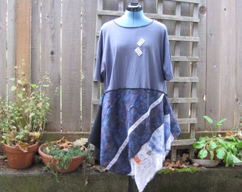 Flirty Upcycled Purple Floral Eco Blouse/ Boho Tunic Top Asymmetrical/ Lagenlook Tattered Womens Shirt L XL