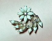 Vintage brooch with milk glass and AB rhinestones, 1950's summer jewelry, white flower brooch