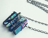 rainbow quartz necklace, crystal necklace, titanium quartz necklace, long necklace, hippie necklace, healing necklace, 90s fashion