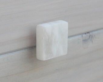 White Marble Knob Square Drawer Pull Knob Cabinet Knob Dresser Knob Rustic